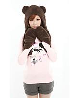 ZIQIAO Cute Cartoon panda Pattern 3-in-1 Soft Plush Warmer Scarf Glove Cap Set