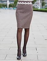Mulheres Saias Altura dos Joelhos Bodycon/Trabalho Renda/Tweed/Misto de Lã Sem Elasticidade Mulheres
