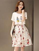 Women's Floral/Solid Round Neck Short Sleeve Pleated