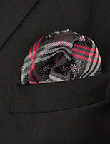 Men's Casual Checked Gray Silk Pocket Square