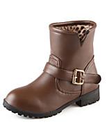 Chaussures Femme Similicuir Gros Talon Bottine/Bout Arrondi Bottes Habillé Noir/Marron/Beige