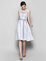 Knee-length Lace Bridesmaid Dress - Silver A-line Scoop