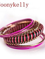 Toonykelly® Vintage Look Multicolor Round Antique Gold Bangle(1PC)