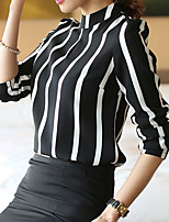 Women's Vintage/Casual/Work/Plus Sizes Micro-elastic Long Sleeve Regular T-shirt (Cotton Blends)