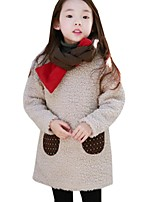 Girl's Spring/Fall Long Sleeve Thicken Cashmere Pocket Solid Color Princess Dress (Cotton Blend)