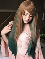 Two Tone Ombre Synthetic Hair Straight Long Wigs Cheap Fashion New Wig For Cosplay Party Christmas Gift
