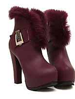 Women's Shoes Faux Leather Chunky Heel Fashion Boots/Round Toe/Closed Toe Boots Casual Black/Burgundy