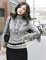 Women's Solid Yellow/Purple/Gray Pullover , Casual Long Sleeve Lace