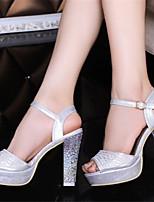 Zapatos de mujer Semicuero Tacón Robusto Punta Abierta Sandalias Vestido Blanco/Plata