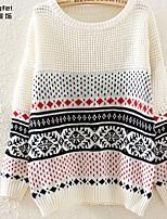 Women's Blue/Beige Pullover , Casual/Print Long Sleeve