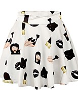 PinkQueen Women's Polyester/Spandex Cute Cartoon Girl Printed Pleated Skirt Short Mini Skirt