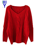 ZAY Women's Twist Braid Solid Batwing Sleeve Loose Thicken Pullover