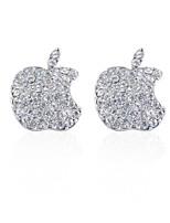 Sterling Silver Cubic Zircon Apple Fashion Stud Earrings