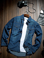 Men's Pure Long Sleeve Top , Denim Casual