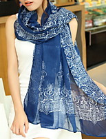 Women Blue And White Porcelain Velvet Chiffon Scarves