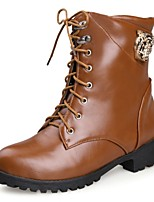 Women's Shoes Low Heel Combat Boots/Round Toe Boots Office & Career/Dress/Casual Black/Brown/Yellow