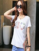 Women's Print/Letter White T-shirt , Round Neck Short Sleeve