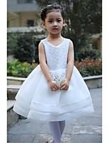 Flower Girl šaty - Satén/Tyl Bez rukávů - Plesové šaty Délka po kolena