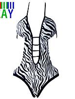 ZAY Women's Sexy Zebra Print Hollow Out One Piece Bikinis