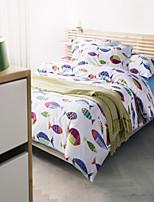 H&C 100% Cotton 800TC Duvet Cover Set 4-Piece Many Fishes Pattern White Background OT4-013