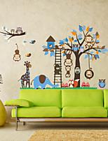 Wall Stickers Wall Decals, Large Animals Monkeys Tree PVC Wall Sticker