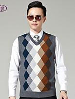 Men's Sleeveless Vest , Wool Blend Casual Plaids & Checks