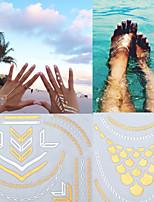 3PCS Colorful Tattoos+2PCS Flash Tattoo Gold Tattoo Body Metal Taty Metallic Tattoo Temporary Tattoo Sticker