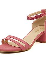 Chaussures Femme - Décontracté - Noir / Rose / Gris - Gros Talon - Gladiateur / Bout Arrondi - Sandales - Laine synthétique