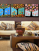 VISUAL STAR®Abstract Lucky Tree Canvas Print Stretched Canvas Print Three Panels High Quality Canvas Ready to Hang