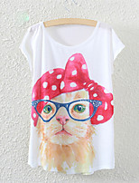 Women's Bow Little Kitty Print Casual Stretchy Short Sleeve Regular T-shirt