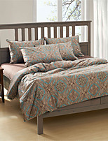 H&C 100% Cotton 1200TC Duvet Cover Set 4-Piece Blue Pattern Coffee Background  HT-004