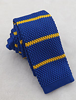 Men's Classic Royal Blue Yellow Stripe Knitted Tie