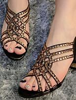 Chaussures Femme - Décontracté - Rose / Beige - Gros Talon - Bout Ouvert - Sandales - Similicuir