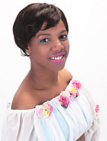 6'' Straight Remy Virgin Indian Human Hair Machine Made Wigs For Black Women