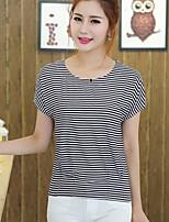 Damen T-Shirt  -  Gerüscht Baumwolle Kurzarm Rundhalsausschnitt