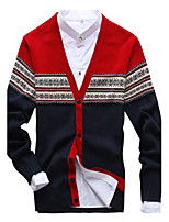 Men's V-neck Mixed Colors  Printing Sweater