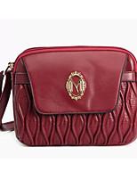Women 's Cowhide Baguette Shoulder Bag - Red
