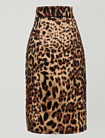 Women's Retro 50s Slim Leopard Step Skirt