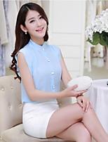 Women's Beach/Casual/Print/Cute/Party/Work/Plus Sizes Micro-elastic Short Sleeve Regular Shirt (Chiffon)