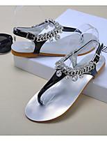Women's Shoes   Low Heel T-Strap Sandals Casual Black/Silver