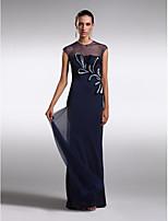 Formal Evening Dress - Dark Navy Sheath/Column Jewel Floor-length Tulle