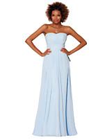 Formeller Abend Kleid - Hellhimmelblau Chiffon - Etui-Linie - bodenlang - trägerloser Ausschnitt
