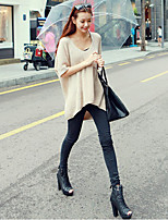 Women's Yellow/Beige Pullover , Casual/Party Short Sleeve