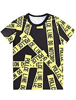 European Style TEE Digital Printing 3D T-shirt Wrinkled Magazine Headlines Harajuku Sleeved T-shirt