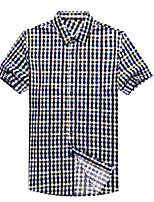 Men's Short Sleeve Shirt , Cotton Casual/Work Plaids & Checks