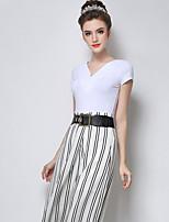 Women's Solid White/Black T-shirt , V Neck/Asymmetrical Short Sleeve Hollow Out