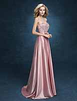 Formal Evening Dress A-line Sweetheart Floor-length Stretch Satin