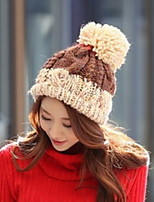 Women  Candy Color Lovely Contrast Color Wool Knitwear Cap