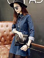 Women's Solid Blue Denim Dress , Casual Shirt Collar Long Sleeve Ruffle