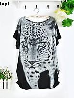 Women's Casual/Print Micro-elastic Short Sleeve Regular T-shirt (Silk)